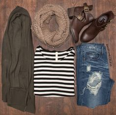 All my favorite things.Olive green, black and white stripes, destructed denim, and booties! Green Cardigan Outfit, Cardigan Outfits, Fall Cardigan, Fall Winter Outfits, Autumn Winter Fashion, Fashion Fall, Fashion Trends, Fall Wardrobe, What To Wear