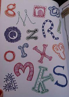 letters Letter Patterns, Doodle Patterns, Zentangle Patterns, Zentangles, Doodle Lettering, Creative Lettering, Lettering Styles, Typography, Doodle Frames
