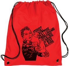 Awesome Rosie the Riveter with tattoos, piercings and plugs on a womens or mens drawstring bag. For more tattoo merch and apparel like this visit www.stapaw.com/#!shop/c10t6. (Red non-woven tote)