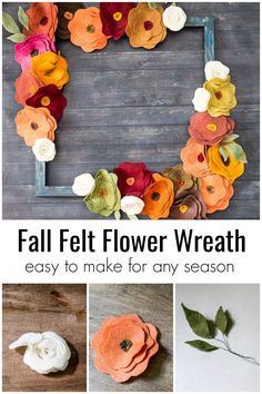 Using felt in different autumnal colors creates a pretty wreath for fall in this easy tutorial. See how to make one for your fall decor.