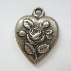 Victorian Sterling Silver Puffy Heart Charm - Rose and Buds - Engraved 'HH'