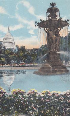 WASHINGTON DC - Famous Bartholdi FOUNTAIN, Botanical Gardens, White House, Vintage Postcard, Used & Stamped, 1920s, s. Reynolds Co.. $2.99, via Etsy.