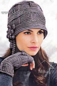 Стильная вязаная женская шапка » Вязание крючком и спицами схемы и модели