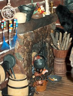 Closeup of downstairs fireplace in Log Cabin