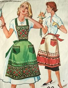 1950s FULL BIB or HALF APRONS PATTERN  6 To The Inch CROSS STITCH EMBROIDERY TRANSFER McCALLS 2061