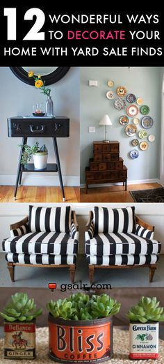 Decorating with yard sale finds One of the reasons we love going to yard sales is the thrill of the hunt…there's nothing I love more than to find a piece of furniture and breathe new life into it. Repurposing, reupholstering
