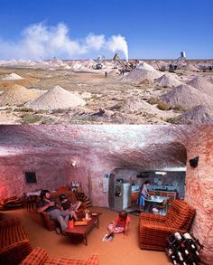 "A bustling underground town is also the opal capital of the world Coober Pedy (the name comes from the local Aboriginal term kupa-piti, which means ""white man's hole"") is located in the Australian outback about 846 kilometers north of Adelaide. The town was established in 1915 following the discovery of opal.:"