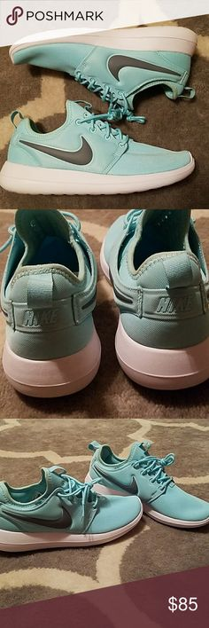 Tiffany blue nike roshe Brand new doesnt come with box. Never worn only tried on.  True tiffany blue in color. Slip on design with scuba like material.  Very soft and comfortable.  True to size.  **Feel free to use the offer button on anything within my closet** Nike Shoes Athletic Shoes