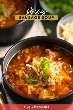 Spicy Sausage Soup - Filled with hot Italian sausage, red peppers and tomatoes. This soup packs a powerful flavour punch! Spicy Recipes, Vegan Recipes Easy, Pork Recipes, Meal Recipes, Sausage Soup, Spicy Sausage, Kitchen Recipes, Cooking Recipes, Soup And Salad