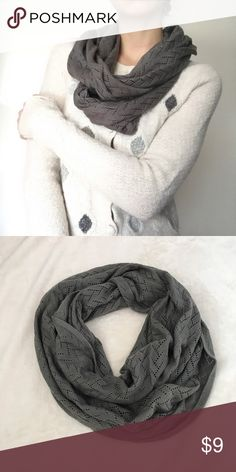 NWOT Gray Knit Infinity Scarf Never worn. Also selling the sweater in the photo, and I have a bundle deal going on right now!! 😊 Accessories Scarves & Wraps