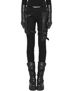 f65add79c82 Details about Punk Rave Womens Dieselpunk Jeans Pants Black Goth Cyberpunk  Cyber Faux Leather