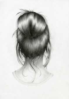 Young girl with a messy bun by nettie wakefield art рисование волос, рисова Pencil Sketch Drawing, Art Drawings Sketches Simple, Amazing Drawings, Pencil Art Drawings, Realistic Drawings, Easy Drawings, Amazing Art, Pencil Painting, Hair Painting