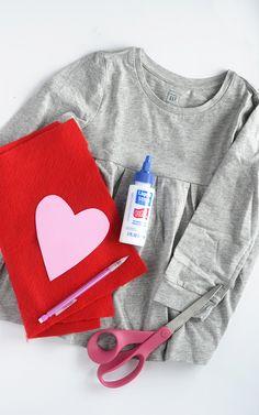 Alice and LoisDIY No-Sew Valentine Heart Pocket Shirt - Alice and Lois Toddler Valentine Outfits, Valentines Outfits, Heart Collage, Ace Of Hearts, Black And White Girl, Heart Template, Heart Shirt, Felt Hearts, Valentine Heart