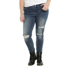 Blackheart Indigo Destructed Super Skinny Jeans Plus Size ($35) ❤ liked on Polyvore featuring jeans, plus size jeans, plus size ripped jeans, destructed skinny jeans, super skinny jeans and white distressed jeans