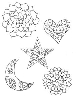 DIY Shrinky Dinks Template featuring mandala patterns in heart, star and crescent moon.