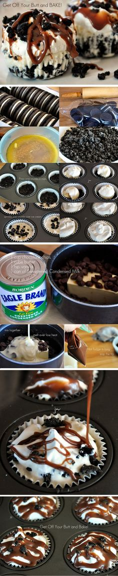 Cupcakes helados de chocolate y oreos / Hot Fudge Oreo Cupcakes or Pie