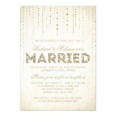 Glitter Look Wedding Reception Only Invitation; Send these out with save the date with wording they will be married at a private ceremony; note that while we couldn't invite everyone to the ceremony we would love for them to celebrate with us after***