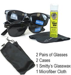 *6 pack  - TWO Pair of Wayfarer Sunglasses  - TWO Cases (that double as cloth wipe)  - One Bottle of Smitty's Glass Wax  - One Micro Fiber Cloth   $17.99
