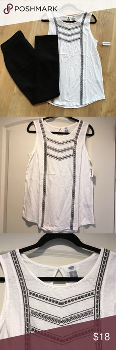White Embroidered Top White with black sleeveless embroidery top from Old Navy. Size medium tall. White with black embroidery. First pic for styling. Old Navy Tops Tank Tops