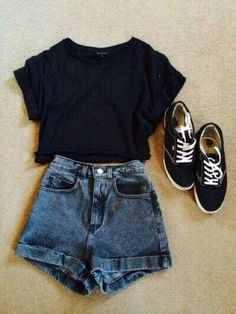 Casual attire- denim High waisted shorts, black top, vintage hipster trainers, High waisted shorts with a dark blue wash Teen Fashion, Fashion Outfits, Fashion Trends, Fashion Ideas, Vans Fashion, Fashion Clothes, Rock Fashion, Fashion Guide, Mens Fashion Shorts