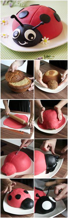 Gâteau coccinelle - décor en pâte à sucre (DIY & tutoriel) - Recettes de cuisine