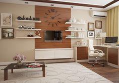 Дерево в оформлении кабинета: мебель, панель за ТВ, карниз на потолке.