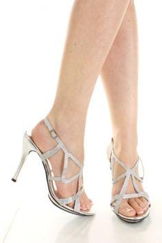 $17 Silver Satin Faux Metallic Leather Rhinestone Cutout Strap Heels