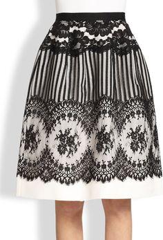 Lace Silk Faille Skirt - Oscar de la Renta