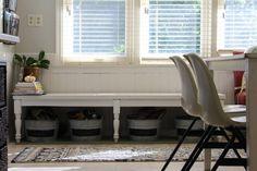 bi-fold door bench, farmhouse kitchen facelift // Dannette Gora   row+harlow interior design