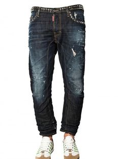 Dsquared2 18cm Studded Denim Biker Jeans in Blue for Men | Lyst