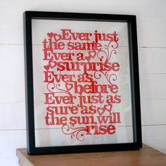 perfect anniversary gift with first dance lyrics or vows