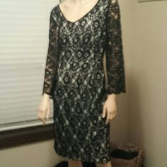 Perfect for the holiday party!  LBD ! Dress is black lace, all completely lined with a cream colored lining. Zips up back. This is brand new, only worn once. Scoop like neckline in front & back.  Purchased off of HSN.  Absolutely no holes no rips no tears in the lace or dress at all. G by GuilianaRancin Dresses