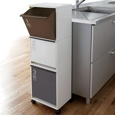 Interior Palette Garbage Bin Recycle Vertical Separation Wagon Wide Black Castors Dust Box Kitchen Trash Fractionation