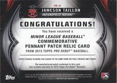 2015 Topps Pro Debut - Pennant Patches - Printing Plates - Cyan #PP-JT Jameson Taillon Back