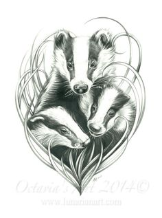 Badger Print  Badger Art  Mum and her Babies  by Lunarianart