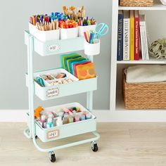 Arts crafts storage cart accessories the container store craft storage shelves products new ideas craft Craft Storage Cart, Art Supplies Storage, Arts And Crafts Storage, Art Storage, Desk Storage, Craft Organization, Storage Ideas, Extra Storage, Bedroom Storage