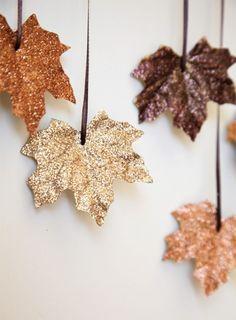 glittery leaf garland for fall.