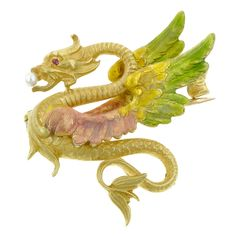 Enamel Dragon Pin with a pearl, measuring 1 1/4 x 1 1/8 inches, fashioned in 14k. Krementz.