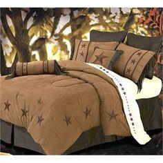 Laredo Star Embroidery Dark Tan Comforter Set Style 2018TAN