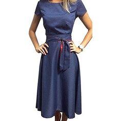 TOP-AK Damen Retro Hepburn Dot Taille Große Schaukel Kleid Faltenrock  Sommerkleid mit Schleifen Abendkleider 1f80e5480d