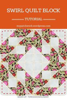 Swirl quilt block - video tutorial - quick and easy block