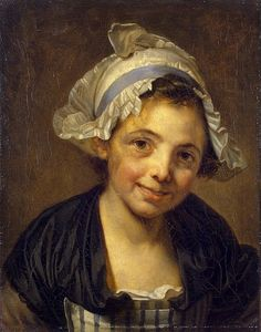 Head of a Young Girl in a Bonnet Author: Jean-Baptiste Greuze Portraiture, Painting, Oil on canvas, 41x33 cm Origin: France, Between 1760 - 1768