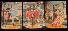 Set of 3 Vintage Paint by Numbers Paintings Dancers Cancan Ballet Flamenco 1950s   eBay