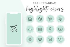 200 Instagram Story Highlight Covers by Hello Manhattan on @creativemarket Image Avion, Small Flags, Lash Curler, Instagram Templates, Pet Paws, Paper Plane, Disco Ball, Story Highlights, Nail File