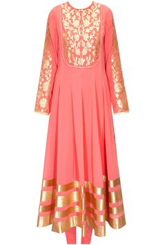 Old rose floral applique work anarkali set available only at Pernia's Pop-Up Shop.