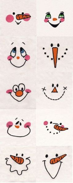 Snowman Faces Embroidery Machine Design Details. Use for Hand Embroidery snowman, doll faces. jwt