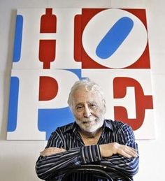 Robert Indiana is an American artist associated with the pop art movement. Indiana's best known image is the word love in upper-case letters, arranged in a square with a tilted letter O. The iconography first appeared in a series of poems originally written in 1958, in which Indiana stacked LO and VE on top of one another.