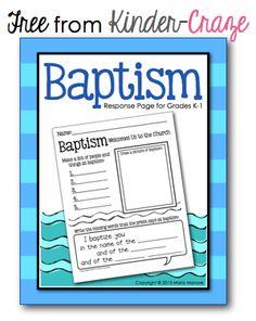 Celebrating Baptism (and a Really Great FREEBIE) - Kinder Craze: A Kindergarten Teaching Blog