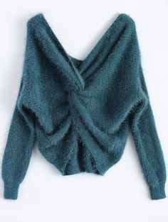 Peacock blue Twisted Fluffy Chenille Sweater - Gamiss