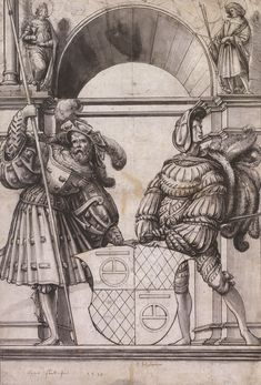 Artist: Holbein d. J., Hans, Title: Design for a Stained Glass Window for Hans Fleckenstein, Date: 1517